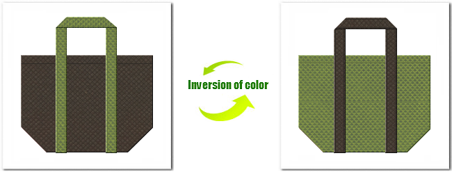 不織布No.40ダークコーヒーブラウンと不織布No.34グラスグリーンの組み合わせのショッピングバッグ