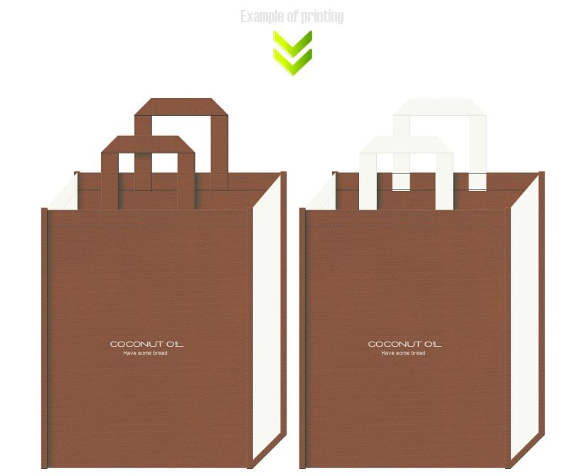 ベーカリーショップの不織布バッグデザイン例。