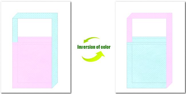 明ピンク色と水色の不織布ショルダーバッグのデザイン