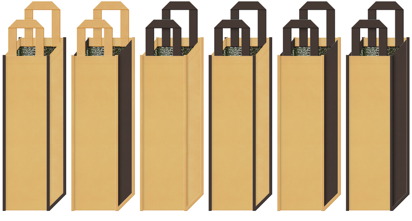 保冷リカーバッグのカラーシミュレーション:麦焼酎・芋焼酎・黒糖焼酎・ブランデー・ウィスキーの保冷バッグにお奨め(薄黄土色とこげ茶色)