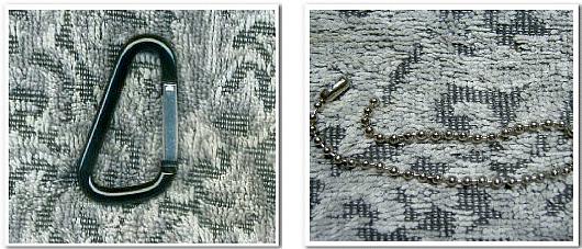 不織布バッグオリジナル制作用の付属パーツ:左写真-カラビナ 右写真-ボールチェーン