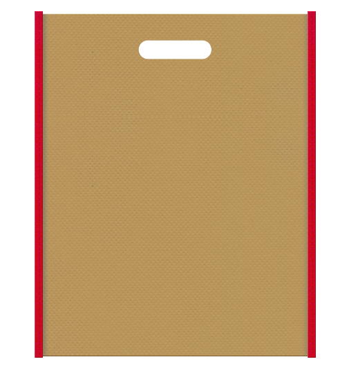 不織布小判抜き袋 メインカラーをマスタード色に、サブカラーを紅色に