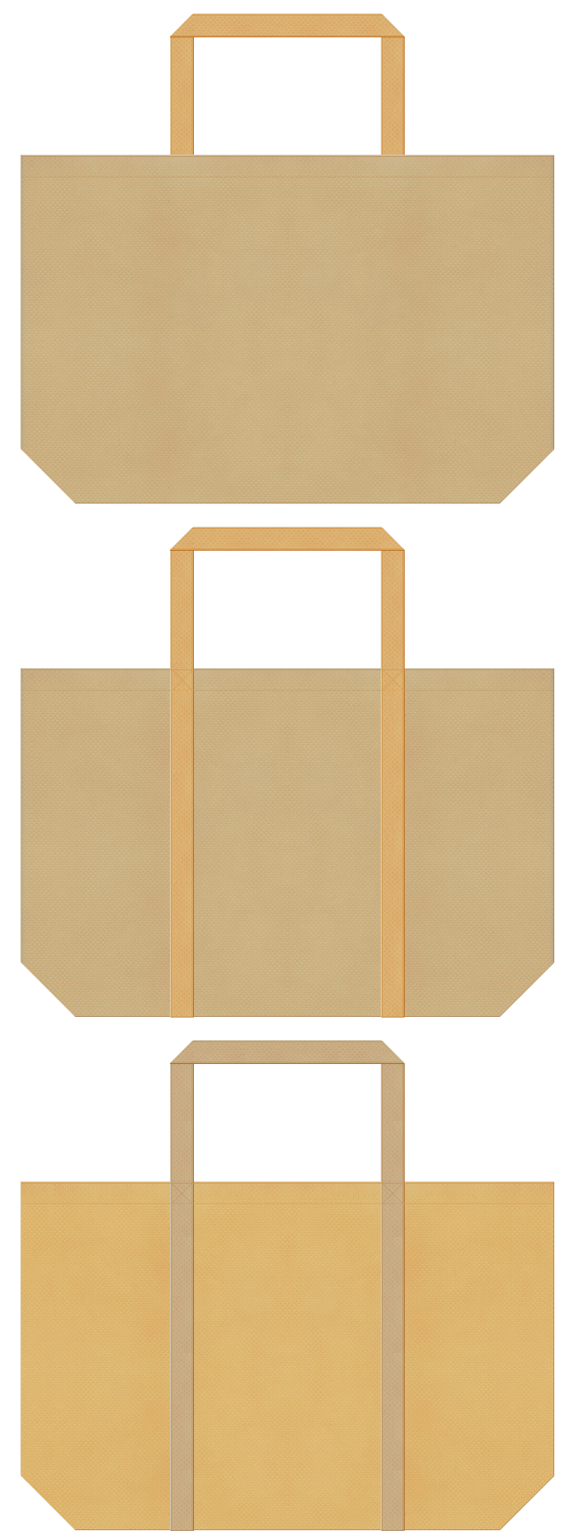 カーキ色と薄黄土色の不織布バッグデザイン。DIY・手芸・木工用品のショッピングバッグにお奨めです。