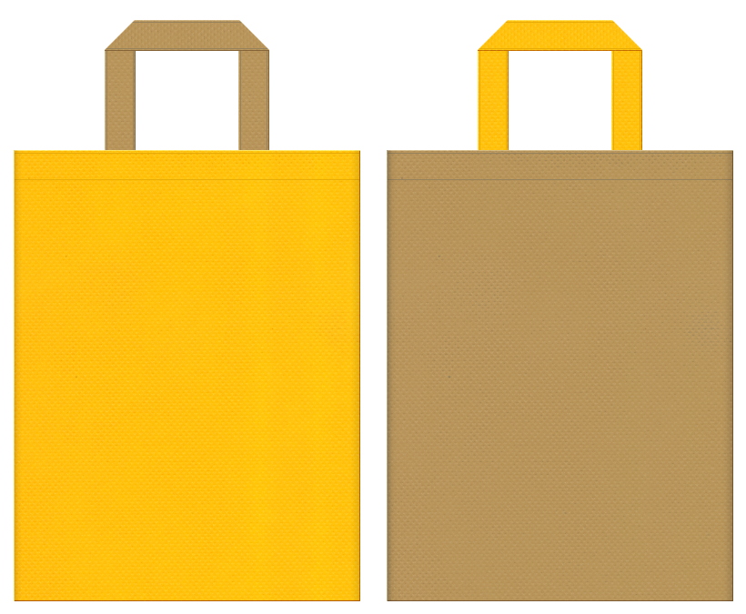 マロンケーキ・カレーパン・砂漠・ラクダ・お宝・黄金・ピラミッド・テーマパーク・ゲーム・キッズイベントにお奨めの不織布バッグデザイン:黄色と金黄土色のコーディネート