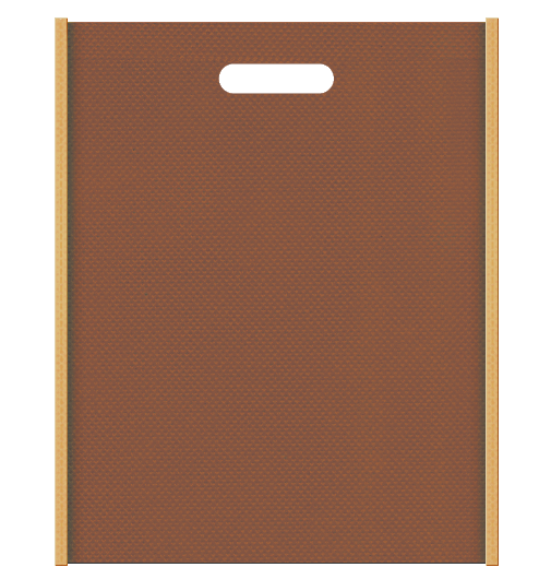 ベーカリー・お菓子のギフト用バッグにお奨めの不織布小判抜き袋デザイン:メインカラー茶色、サブカラー薄黄土色