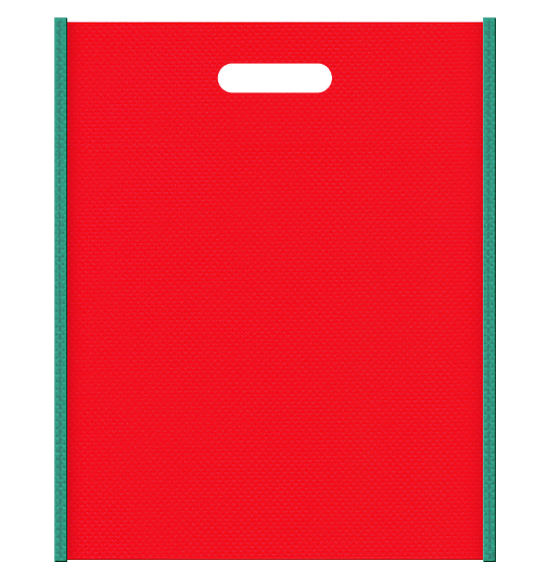 不織布バッグ小判抜き メインカラー青緑色とサブカラー赤色の色反転