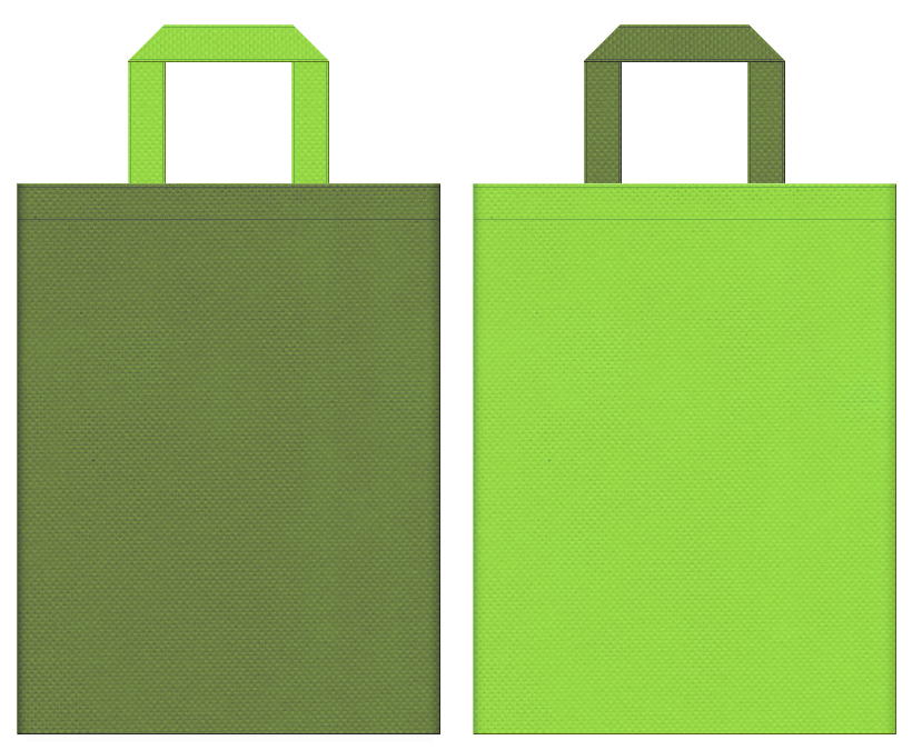 不織布バッグの印刷ロゴ背景レイヤー用デザイン:草色と黄緑色のコーディネート:茶会等の和風庭園のイベントにお奨めです。