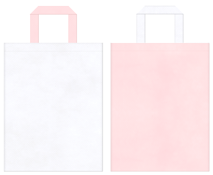 不織布バッグの印刷ロゴ背景レイヤー用デザイン:医療、福祉、介護にお奨めの、白色と桜色のコーディネート