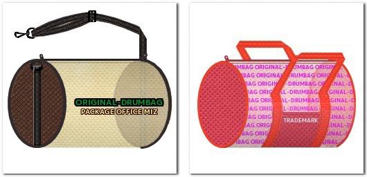 不織布ドラムバッグのイメージスケッチ例 左:アジャスターを使用したタイプ 右:前面にポケットをつけたタイプ