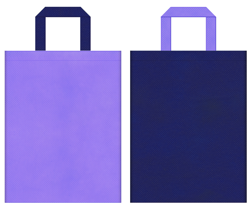 天体観測・星座・プラネタリウム・神話・伝説・星占い・星空のイベントにお奨めの不織布バッグデザイン:薄紫色と明るい紺色のコーディネート