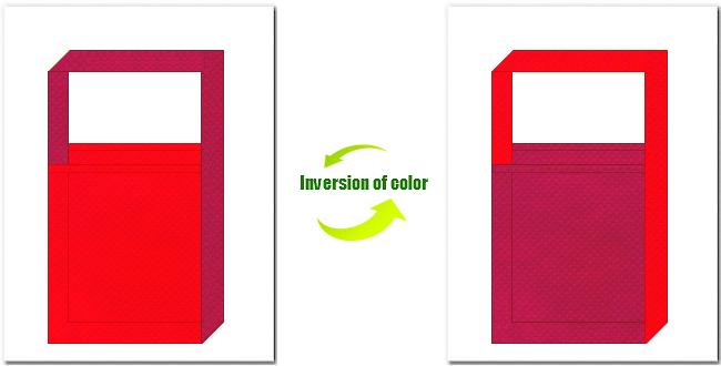赤色と濃ピンク色の不織布ショルダーバッグ