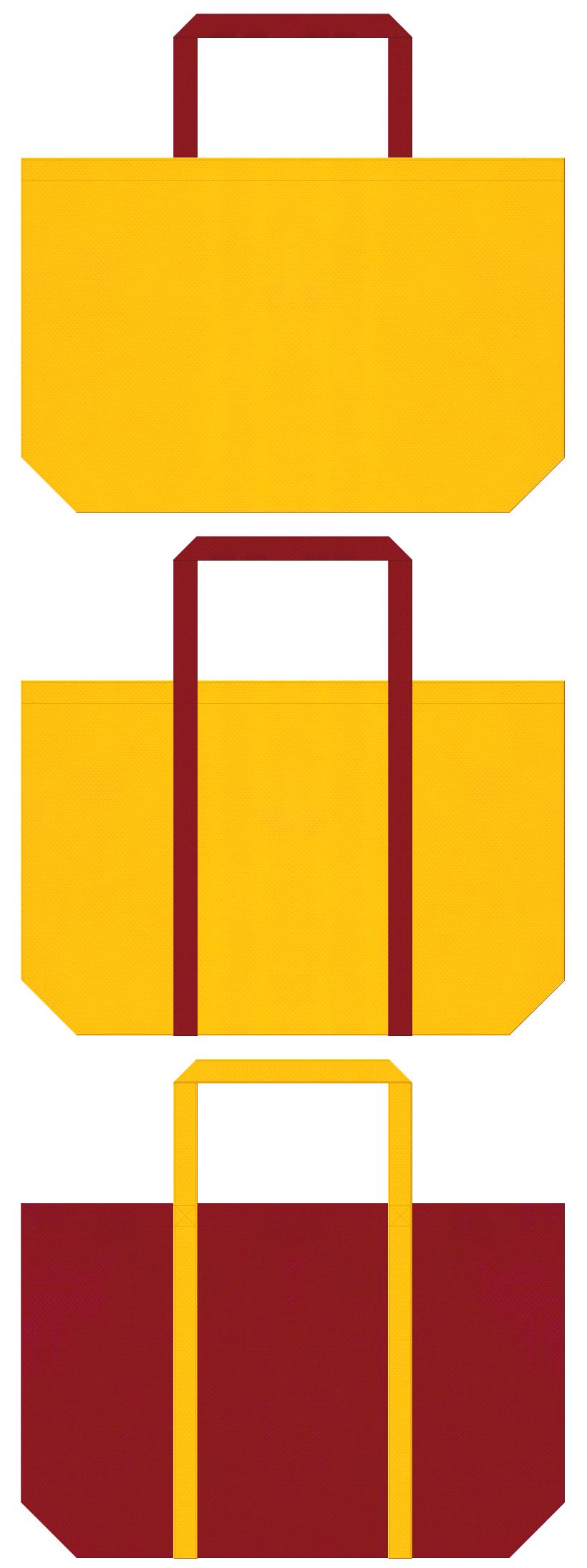 黄色とエンジ色の不織布ショッピングバッグのデザイン。キャンプ・アウトドア用品のショッピングバッグにお奨めです。