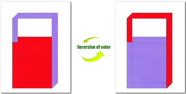 赤色と薄紫色の不織布ショルダーバッグ