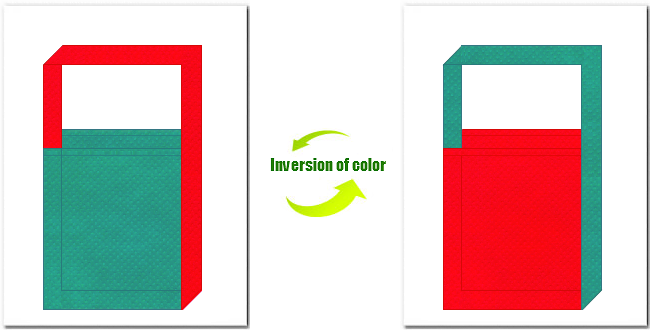 青緑色と赤色の不織布ショルダーバッグのデザイン