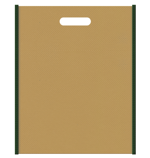 不織布バッグ小判抜き メインカラー濃緑色とサブカラー金色系黄土色の色反転
