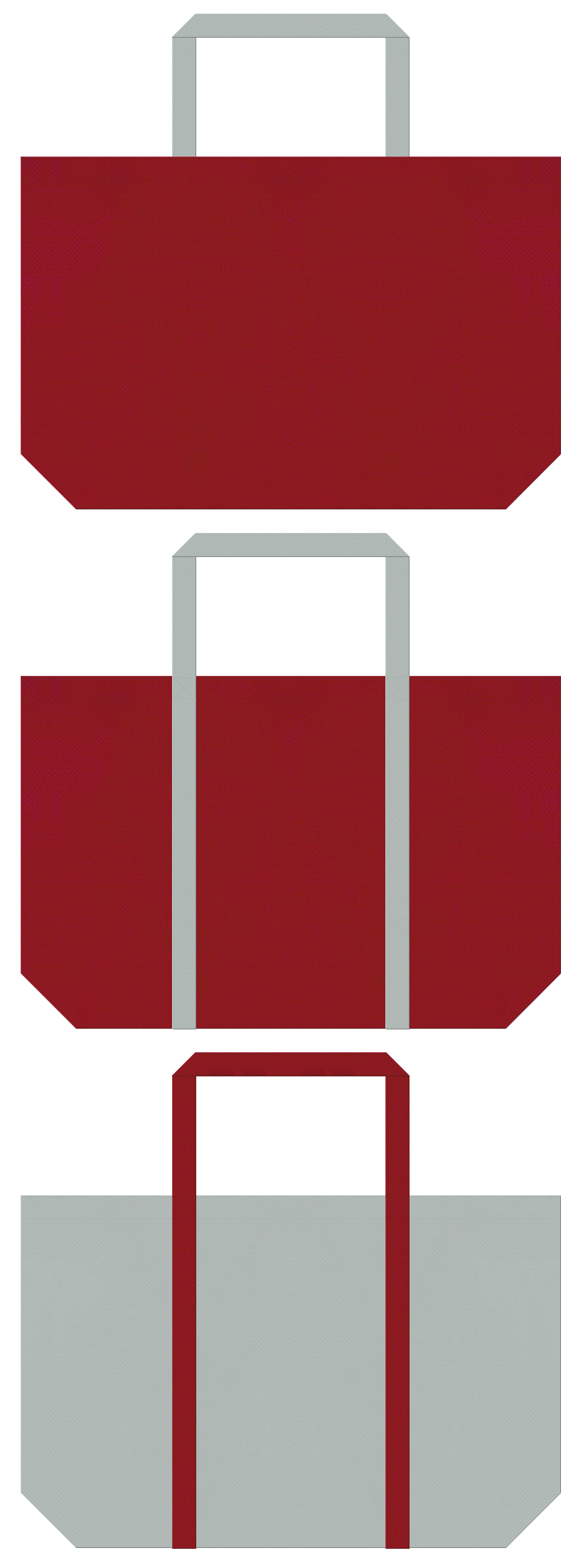 エンジ色とグレー色の不織布ショッピングバッグのデザイン