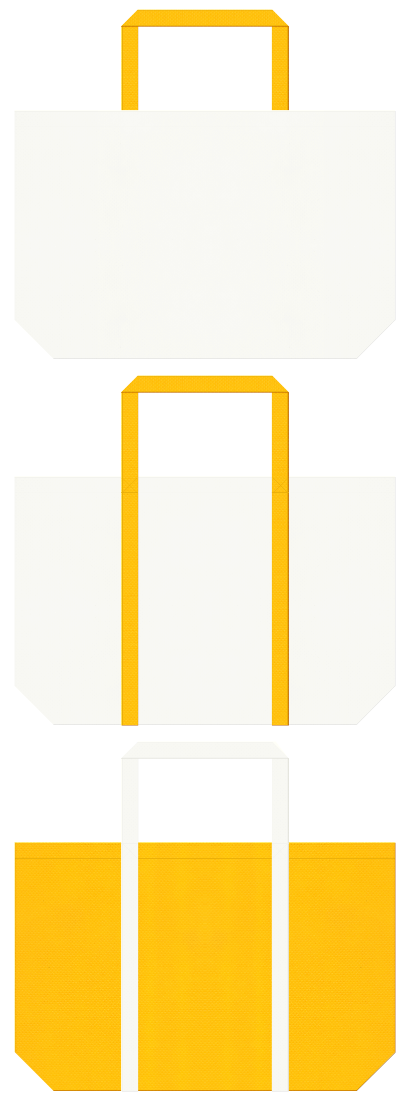 オフホワイト色と黄色の不織布ショッピングバッグのデザイン:フルーツのショッピングバッグや果樹園のノベルティにお奨めです。