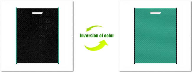 不織布小判抜き袋:No.9ブラックとNo.31ライムグリーンの組み合わせ