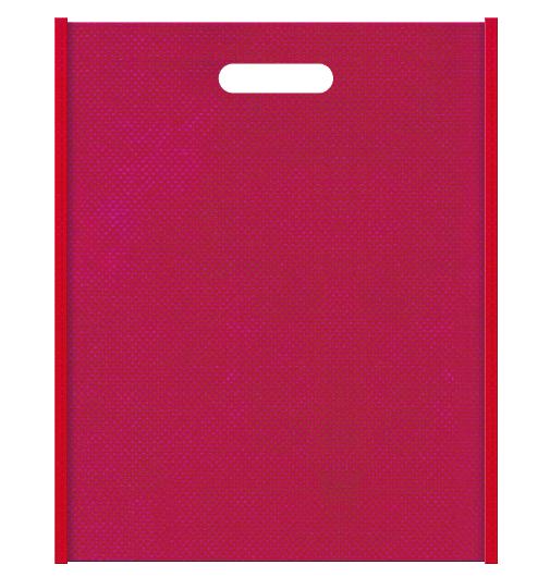 和風柄にお奨めの不織布小判抜き袋デザイン:メインカラー濃いピンク色とサブカラー紅色