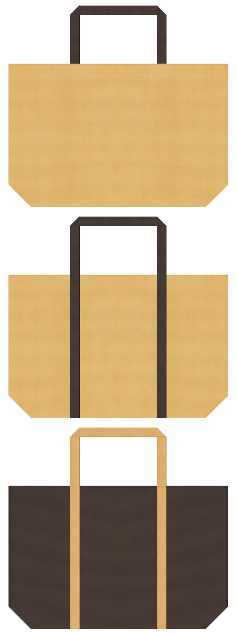 薄黄土色とこげ茶色の不織布バッグデザイン。パン屋さんのショッピングバッグにお奨めです。麦わら帽子のイメージにも。