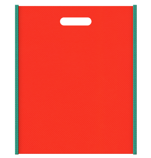 不織布バッグ小判抜き メインカラー青緑色とサブカラーオレンジ色の色反転