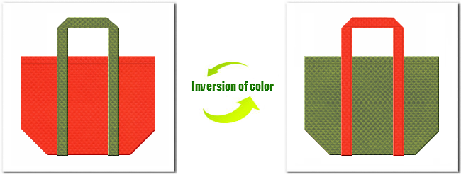 不織布No.1オレンジと不織布No.34グラスグリーンの組み合わせのショッピングバッグ