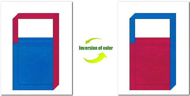 不織布ショルダーバッグのデザイン:不織布No.22スカイブルーと不織布No.39ピンクバイオレットの組み合わせ