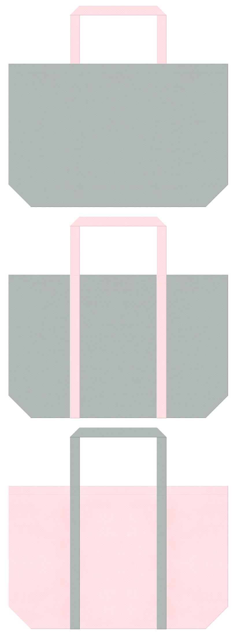 グレー色と桜色の不織布エコバッグのデザイン。事務服のイメージにお奨めの配色です。