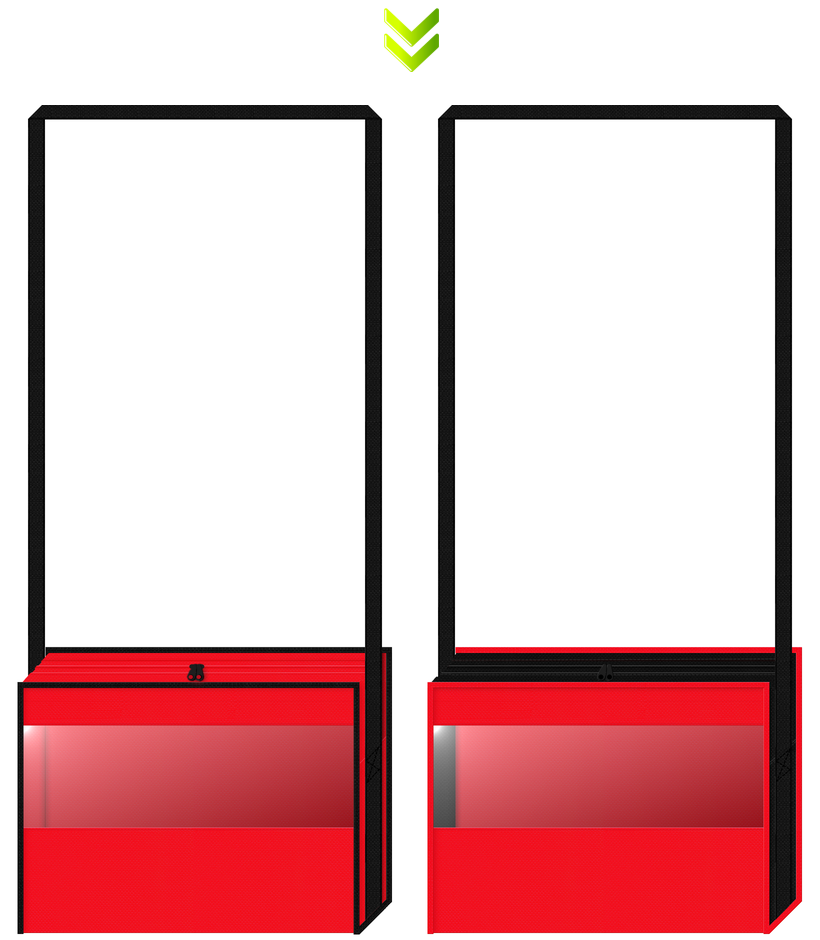 赤色と黒色の不織布に透明窓をつけた不織布バッグデザイン:のりもの・バス・電車イベントのノベルティ