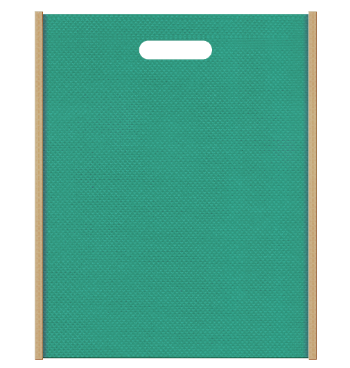 不織布バッグ小判抜き メインカラー青緑色とサブカラーカーキ色