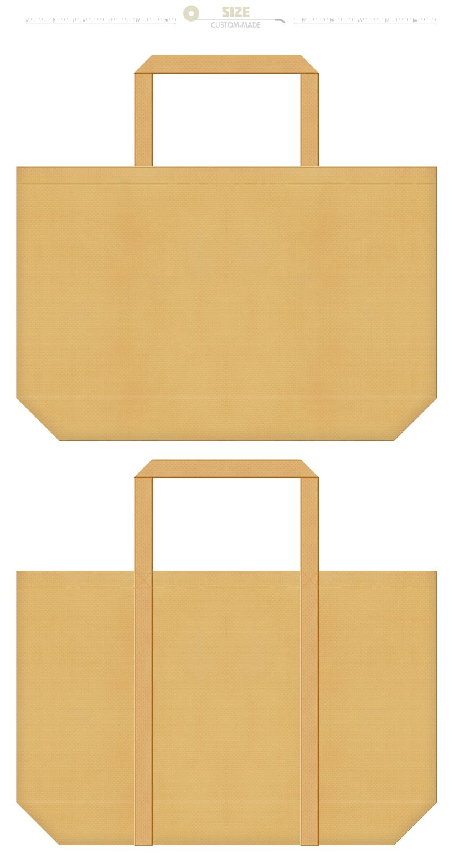 薄黄土色の不織布ショッピングバッグにお奨めのイメージ:クラフト紙・ぬいぐるみ・木の看板・板の間・ヒノキ・竹・麦藁帽子・じゃがいも・三温糖・クッキー・サブレ・ビスケット・キャラメル・パスタ