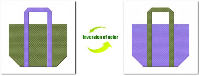 不織布No.34グラスグリーンと不織布No.32ミディアムパープルの組み合わせのエコバッグ