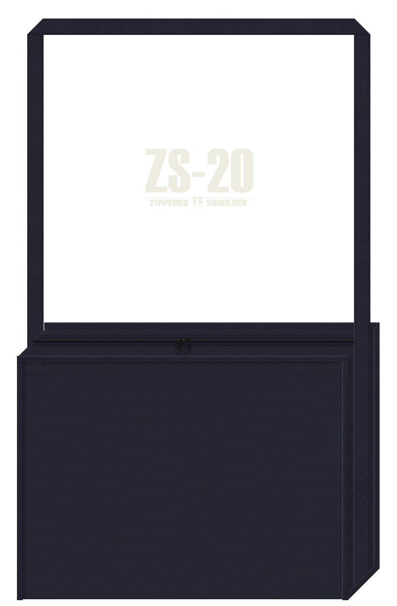ファスナー付き不織布ショルダーバッグのカラーシミュレーション:濃紺色