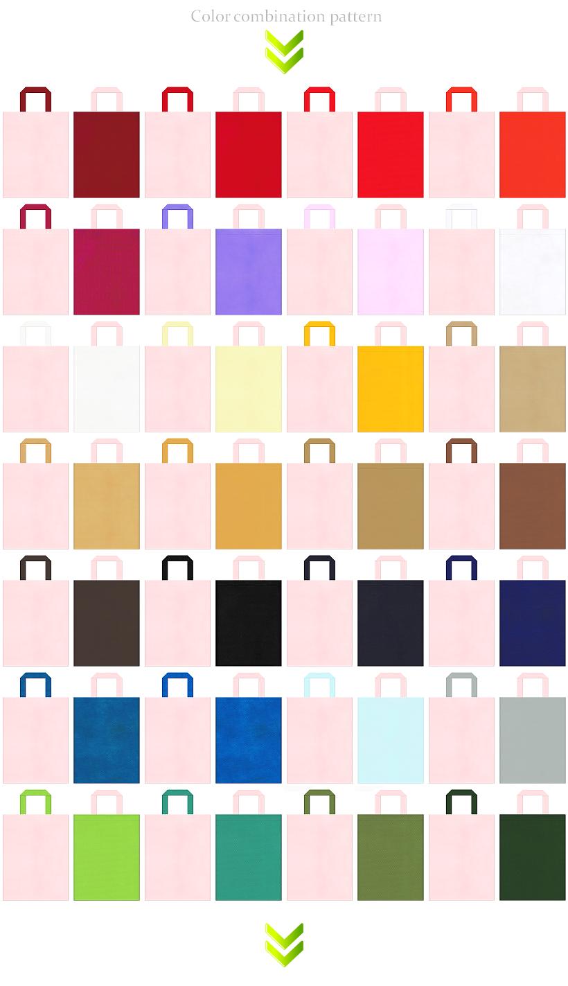 女子イベント・和風催事・ガーリーデザインにお奨めの不織布バッグデザイン:桜色のコーデ56例