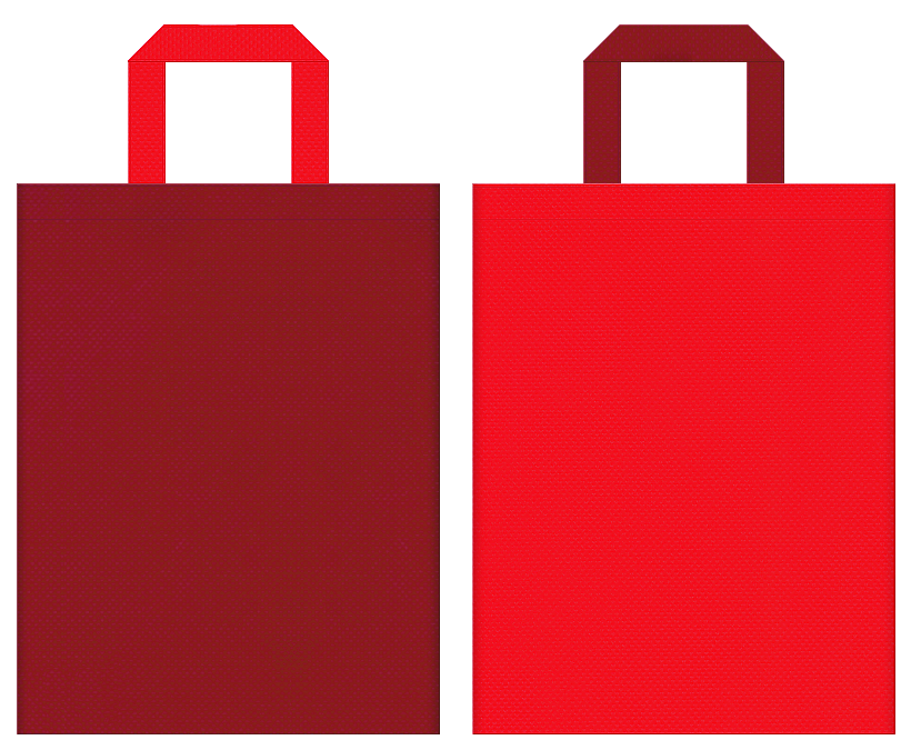 不織布バッグの印刷ロゴ背景レイヤー用デザイン:エンジ色と赤色のコーディネート