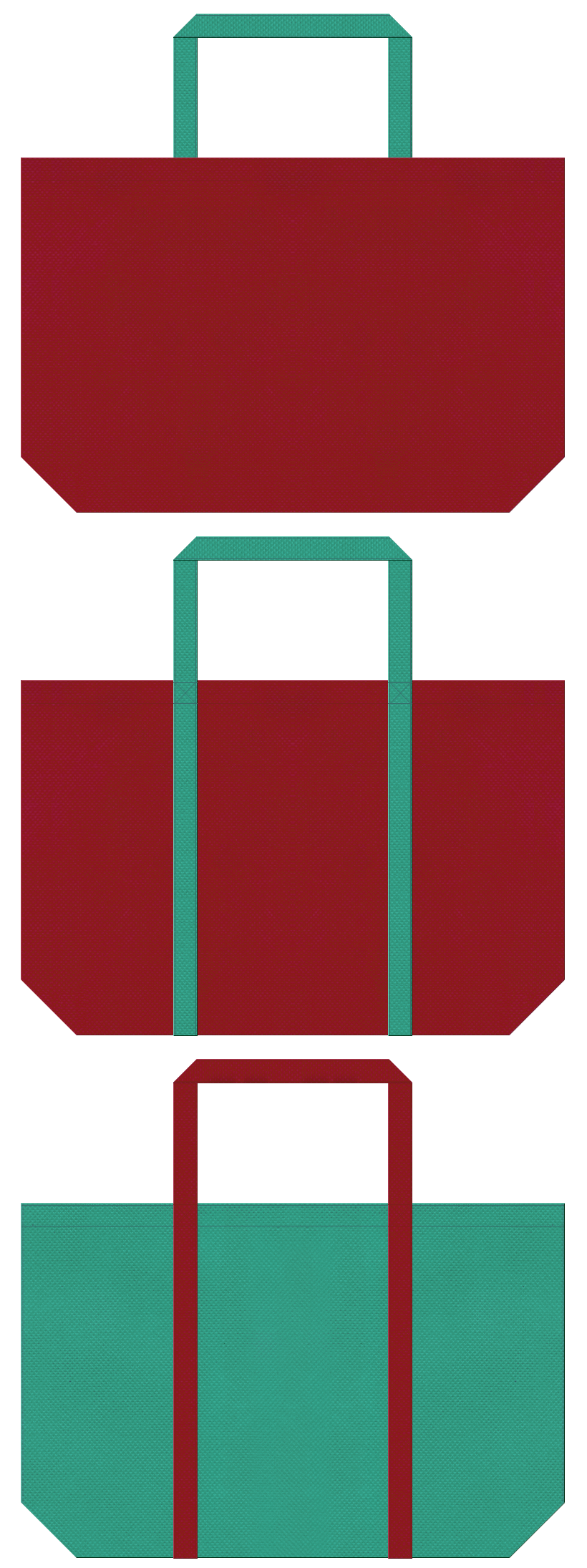 エンジ色と青緑色の不織布ショッピングバッグのデザイン。振袖風の配色で、和雑貨のショッピングバッグにお奨めです。