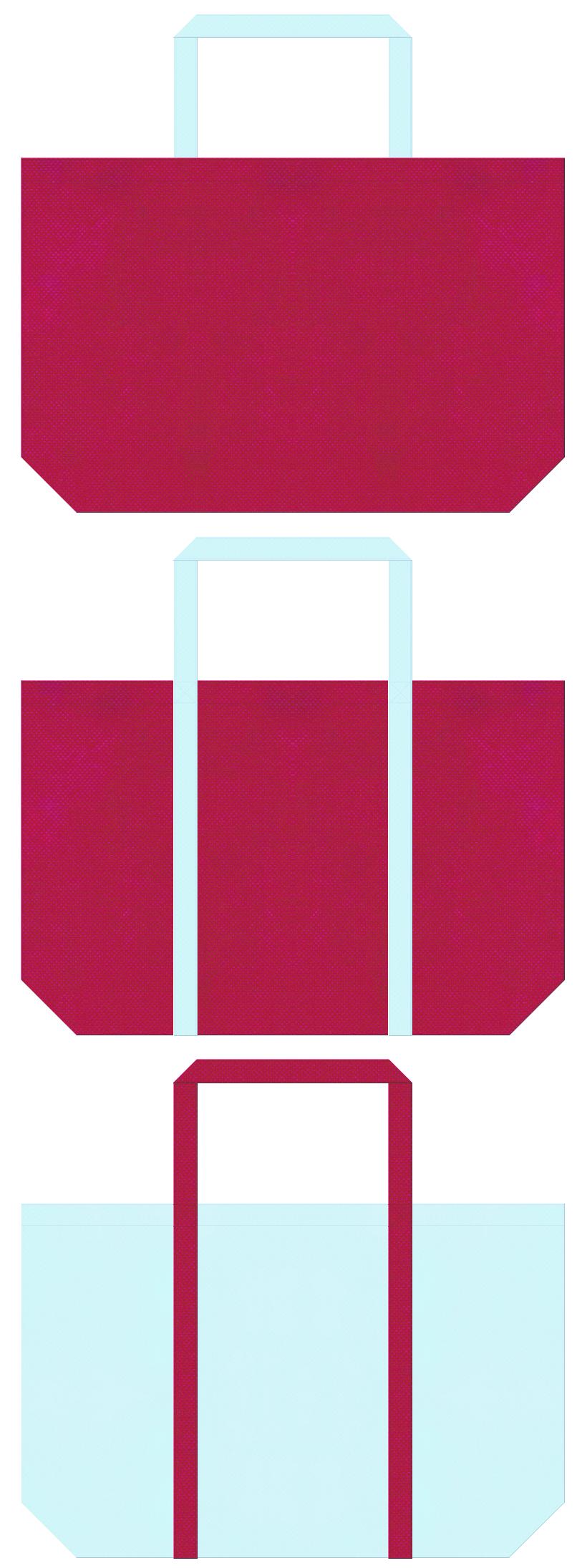 濃いピンク色と水色の不織布ショッピングバッグデザイン。