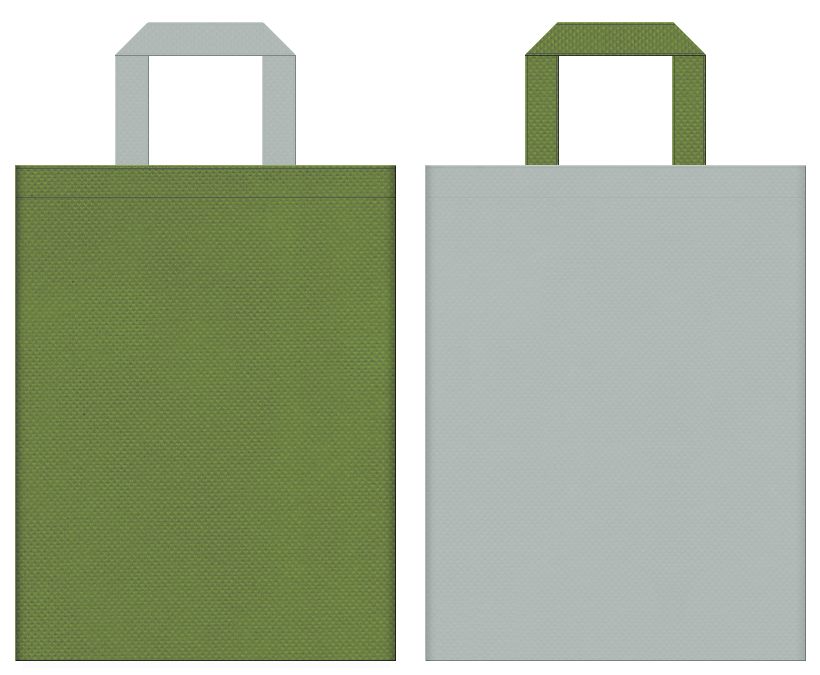 不織布バッグの印刷ロゴ背景レイヤー用デザイン:草色とグレー色のコーディネート:緑化推進・屋上緑化のイベントにお奨めの配色です。