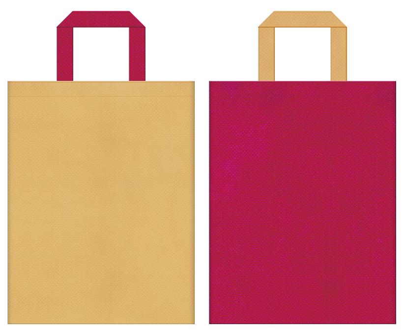 不織布バッグの印刷ロゴ背景レイヤー用デザイン:薄黄土色と濃いピンク色のコーディネート:トロピカルイメージのトラベルバッグにお奨めの配色です。