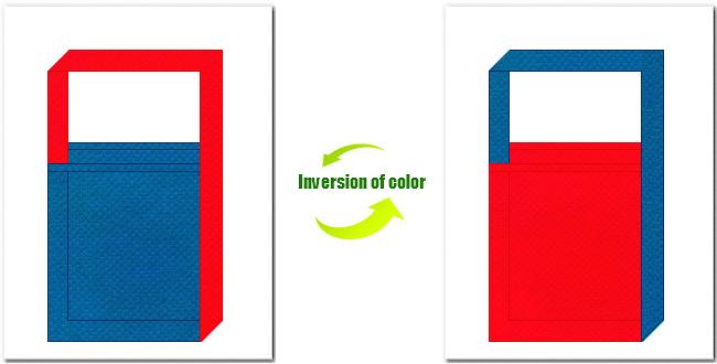 青色と赤色の不織布ショルダーバッグのデザイン:テーマパーク・おもちゃのショッピングバッグにお奨めの配色です。