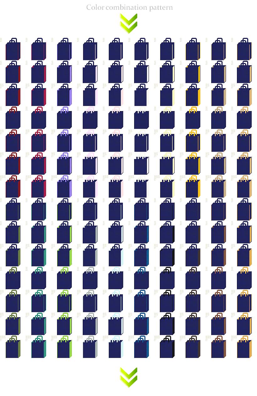 夏祭り・スポーツ・ゲーム・サマーイベントにお奨めの不織布バッグデザイン:紺色のコーデ196例