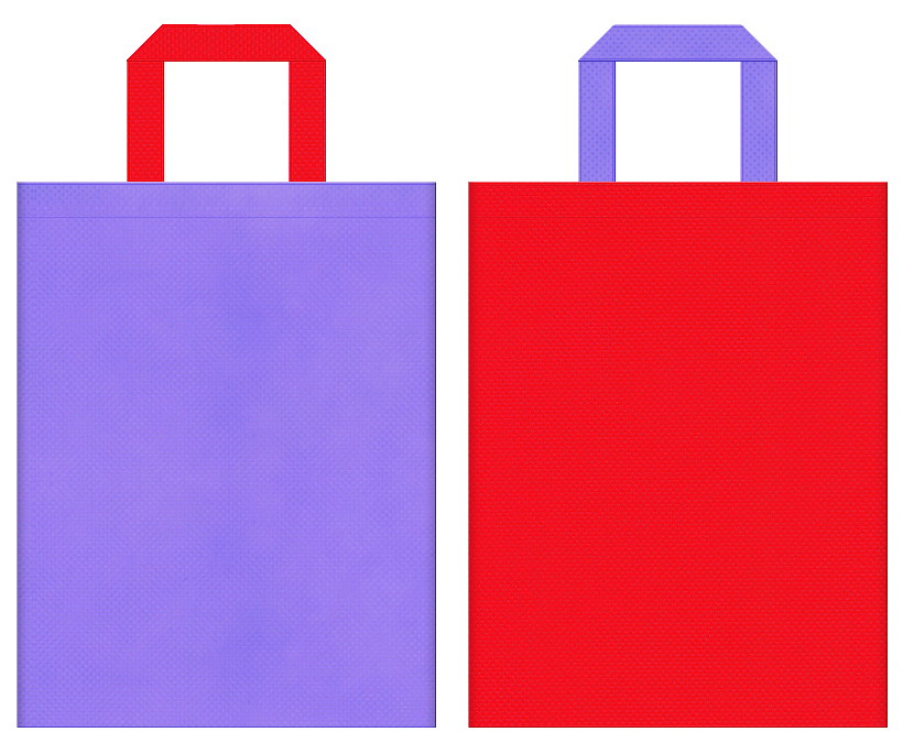 不織布バッグのデザイン:薄紫色と赤色のコーディネート