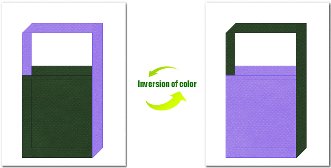 濃緑色と薄紫色の不織布ショルダーバッグのデザイン