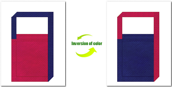濃ピンク色と明紺色の不織布ショルダーバッグ
