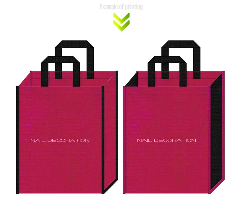 不織布バッグのデザイン:ネイルデコ