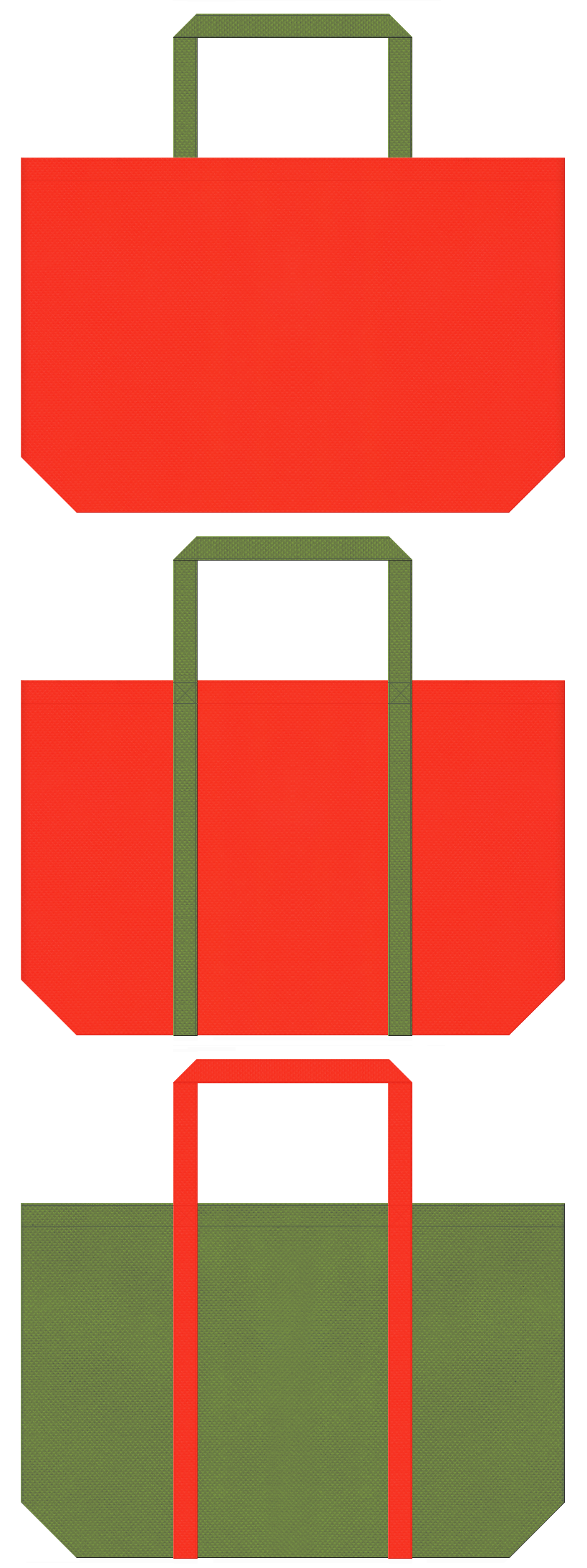 オレンジ色と草色の不織布ショッピングバッグデザイン。