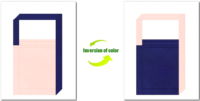 桜色と明紺色の不織布ショルダーバッグのデザイン