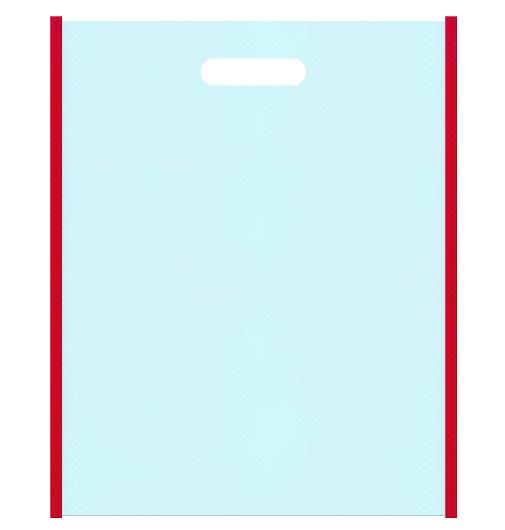 夏祭り・風鈴・金魚すくいのイメージにお奨めの不織布バッグ小判抜き配色デザイン:メインカラー水色とサブカラー紅色
