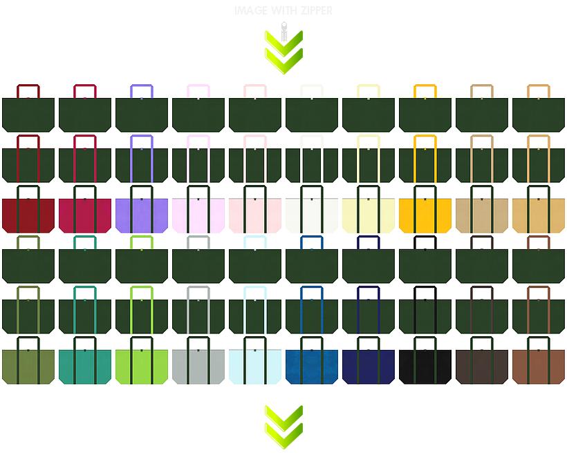ワイルド・ボタニカル・アンティーク・ヴィンテージ・和柄のエコバッグにお奨めの、ファスナー付き不織布バッグのデザイン:濃緑色・深緑色のコーデ84例
