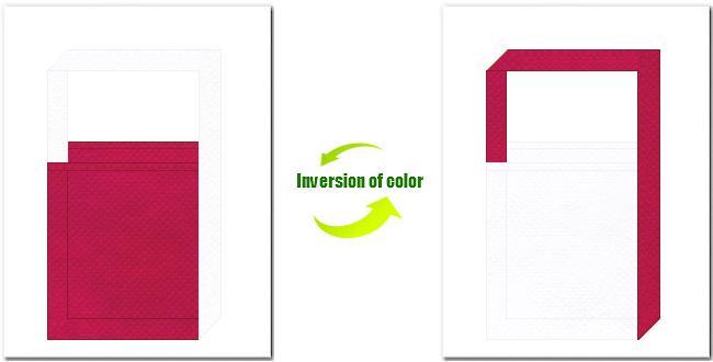 濃ピンク色と白色の不織布ショルダーバッグ